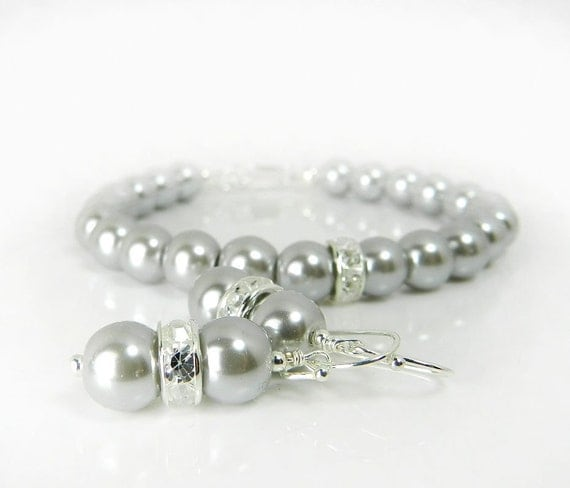 Gray Pearl Bracelet and Earring Set, Bridesmaid Jewelry, Grey Pearls, Wedding Bridal Jewelry Dallas