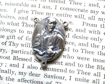 """Sacred Heart of Jesus and  Praying Mary Rosary Center - 1"""" - Sterling Silver - Vintage Replica"""