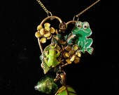 Repurposed Frogs on a Leave Vintage Assembly
