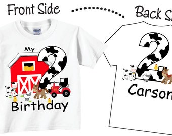 2nd Farm Birthday Shirts and Tshirts with Farmyard and Farm Animals Tees