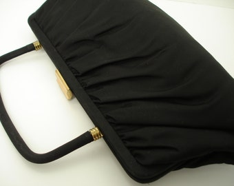 Pleated Black Fabric Mid Century Vintage Satin Lined Handbag/Purse/Clutch w/Collapsible Handle