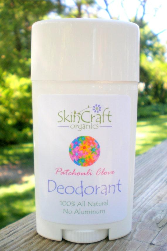 Natural Deodorant - Patchouli  - Gentle Formula - NO Baking Soda - Organic Shea / Coconut Oil w/ Arrowroot & Clay
