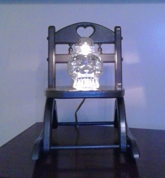 Glass Skull on Rocking Chair Table Lamp