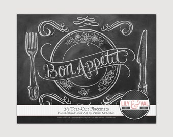 Hostess Gift, Paper Placemats, Paper Placemats Wedding, Wedding Decorations, Wedding Placemats, Chalkboard Placemats, Chalk Art