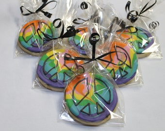 Tie TYE Dye Peace Sign Decorated Sugar Cookies 1 Dozen (12)  round party favors
