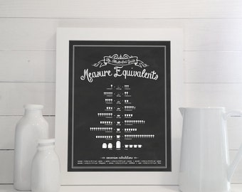 Measure Equivalents: An Illustrated Guide - 11x14 Print - Kitchen Conversions, Measurement, Measurements, Chalkboard, Sign, Poster, Art