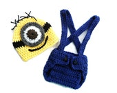 Minion Despicable Me inspired Set Baby Outfit Hat and Diaper Cover Baby -Photography Prop  0-3 mo 3-6 mo 6-9 mo 9-12 mo 12- 24 mo