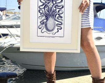 Octopus in navy blue front side - Octopus A3 plus sized Poster Wall Art -  sea life print SPP041