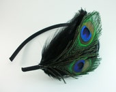 Black Peacock Feather Headband / Great Gatsby / peacock feathers hair band / 1920s flapper / Art Deco black feather fascinator