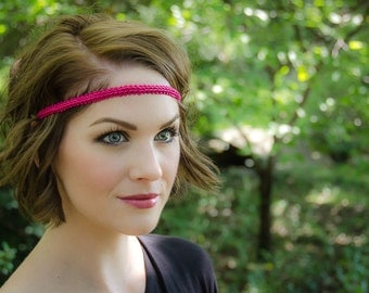 Hot Pink Boho Forehead Headband - Solid Collection