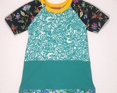 Upcycled OOAK Girl's Size 6  TShirt Dress, Floral Print Dress with Contrasting Floral Print Flounce, Short Raglan Sleeve, Neck Button Detail