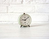 Vintage German Alarm Clock Light Green and White - CirceCollectables