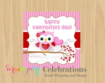 Instant Download: DIY Printable Favor Tags- Pink Valentines Day Owl Favor Tags -Gift Tags -Square Thank You Tags -School Treats -Holiday