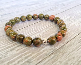Green Unakite gemstone bracelet, Zen semiprecious stones connectivity