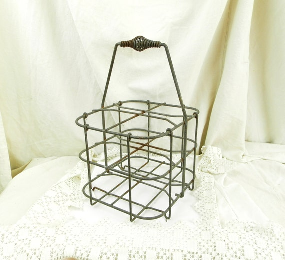 Vintage french metal wire wine bottle carrier for 4 bottles - Wire wine bottle carrier ...