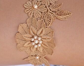Dark Cream Garter, Wedding Garter Set, Lace Wedding Garter, Bridal Garters, Vintage Garter, Toss Garter, Cream Bridal Gift, Handmade Garter