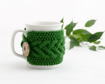 Cup Cozy in Forest Green, Knitted Mug Cozy, Coffee Cozy, Tea Cup Cozy, Handmade Wooden Button, Coffee Cozy Sleeve, Warmer, Winter, Gift