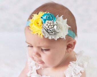 Baby Headband, Girl Headband, Yellow & Teal Headband, Baby girl Headband, newborn headband,