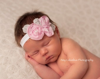 Chiffon Baby Headband, Girl Headband,  Pink  Baby girl Headband, newborn headband, vintage headband