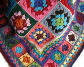Crochet Granny Square Afghan Or Lapghan -  Colorful -  Llama Yarn - Handmade