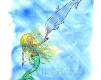 Children's Wall Art Print - Mermaid and Dolphin - Ocean theme decor for girls- Customizable Hair Color