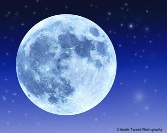 Blue Moon Photo, Moon Print, Moon Photo, Dreamy Moon Print, Nursery Print, Full Moon Print