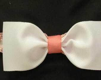 Pink and White Infant Headband