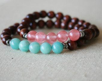 Blue Amazonite & Pink Quartz mala bracelet //