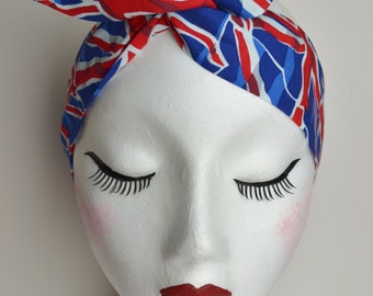 50s Rockabilly Pin Up Red, White & Blue Union Jack Print Wire Headband