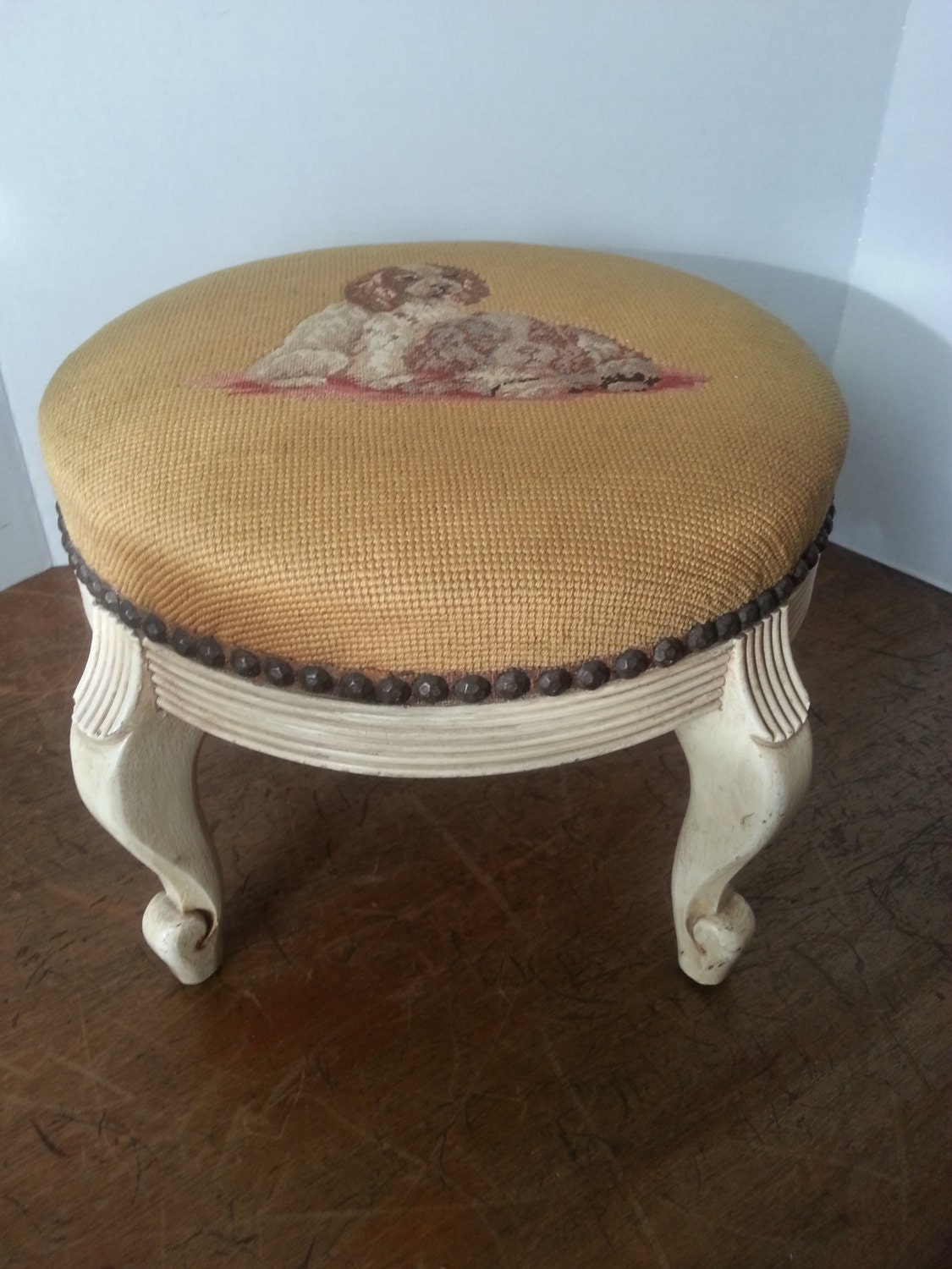 Vintage Needlepoint Footstool With Cabriole Louise Xv 8 Legs