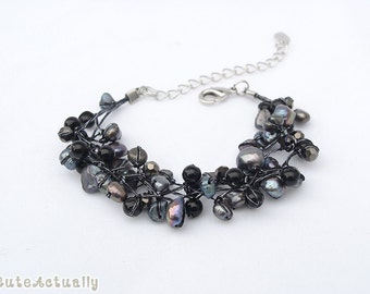 Black freshwater pearl bracelet with stone and crystal on silk thread, black pearl bracelet