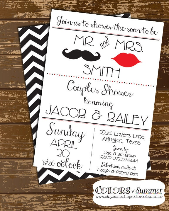 Mr. And Mrs. Couples Shower Invitation Wedding Shower Invite