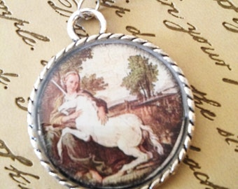 Lady and the Unicorn Round Resin Charm Pendant with Beads Necklace Romantic Art Boho Gifts Under 10