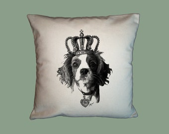 King Cavalier Spaniel Dog With Crown HANDMADE 16x16 Pillow Cover - Choice of Fabric - image in ANY COLOR
