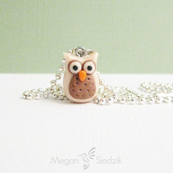 Owl Necklace - Slim Clay Pendant - Brown and Cream - Owl Jewelry - Geekery Jewelry