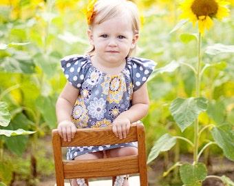 Gray & Yellow With Polka Dot Peasant Dress - Baby Toddler Girl