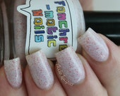 CLEARANCE The Savage North Nail Polish - MINI - white jelly with red flecks and blue shimmer