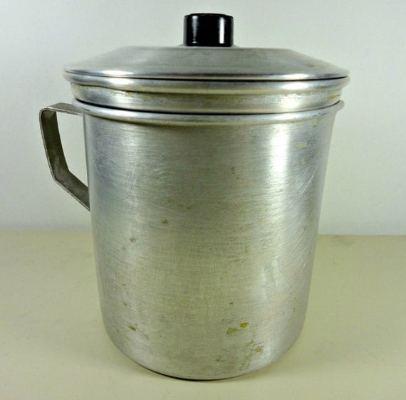 Vintage aluminum kitchen grease container strainer s