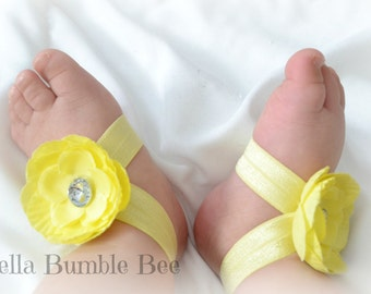 Bright Yellow Baby Barefoot Flower Sandals for Newborn Baby or Toddler Girls / Baby Booties / Baby Sandles