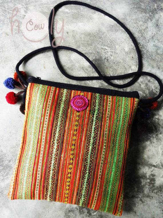 Tribal Vintage Hmong Bag, Tribal Bag, Vintage Bag, Hmong Bag, Hippie Bag, Boho Bag, Small Bag, Shoulder Bag, Purse, Phone Bag, Boho Purse