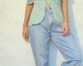 VTG 90s mint polka dot blouse