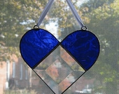 Heart Stained Glass Suncatcher - Heart Ornament - Valentines Day Decor - Anniversary Gift - Blue Glass