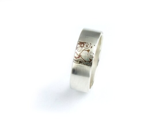 Mokume Gane Ring for Women Sterling Ring Copper Sterling Silver Ring Modern Wedding Ring Simple Engagement Band Size