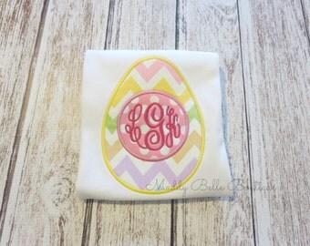 Pastel Chevron Monogrammed Easter Egg Shirt - Embroidered, Personalized, Monogram, Easter Egg, Monogrammed Easter Shirt, Easter Egg Shirt