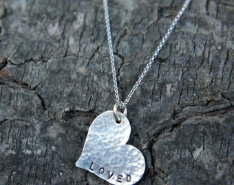 "Hand Stamped ""LOVED"" Heart Necklace - Sterling"