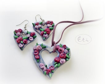 flowers heart pendant and earrings, cold porcelain, roses, violet, air dry clay, valentine heart