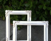 Picture Frame, Set of 2,  Shabby Chic, 4x6 , 5x7  Distressed , White, Wedding Frame, Baby Frame, Embellished, Ornate Frame (Los Angeles)