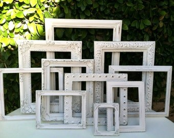 Wedding Frames,  Set of 10, Ornate,Distressed Picture Frame set, Baroque, White,  Distressed Frame,  #NO114(Los Angeles)
