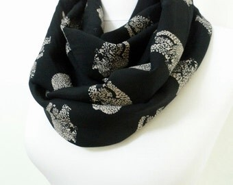 Leopard Infinity scarf, Black Yellow Tube scarf, Circle scarf, Loop scarf, scarves, spring - fall - winter fashion Sale