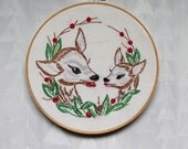SALE! vintage reindeer christmas embroidery upcycled onto vintage embroidery hoop art
